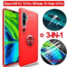 Magnetische Ring Standhouder Cases Voor Xiao Mi Mi-10 Note 10 Phonecase Silicone Cover Xao Mi Mi note10 Mi 10Pro Mi 10 Zacht Glas