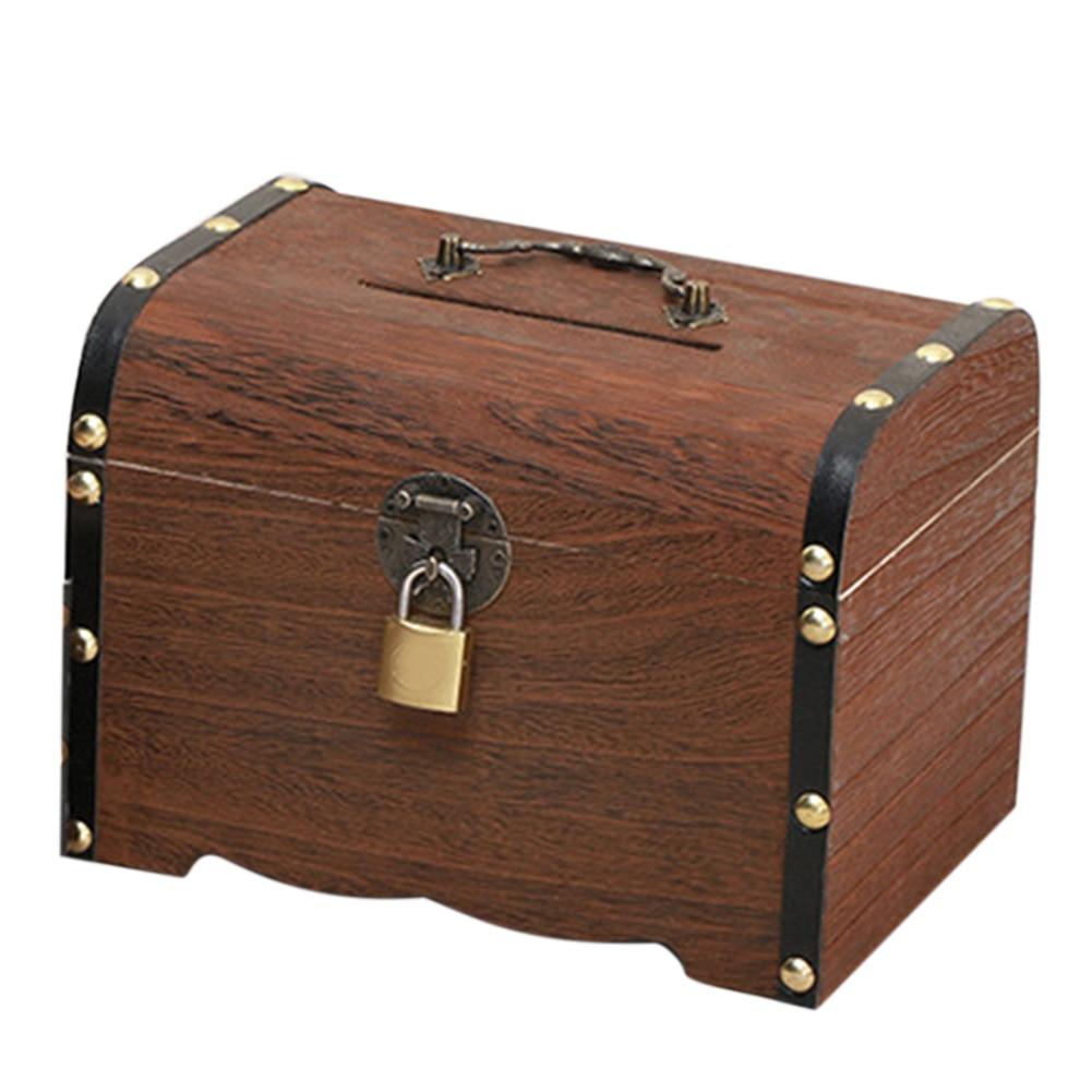 Твердая древесина свободно стоящий Копилка винтажная коробка для хранения денег Игрушка Дети с замком большая емкость подарки Домашний декор копилка