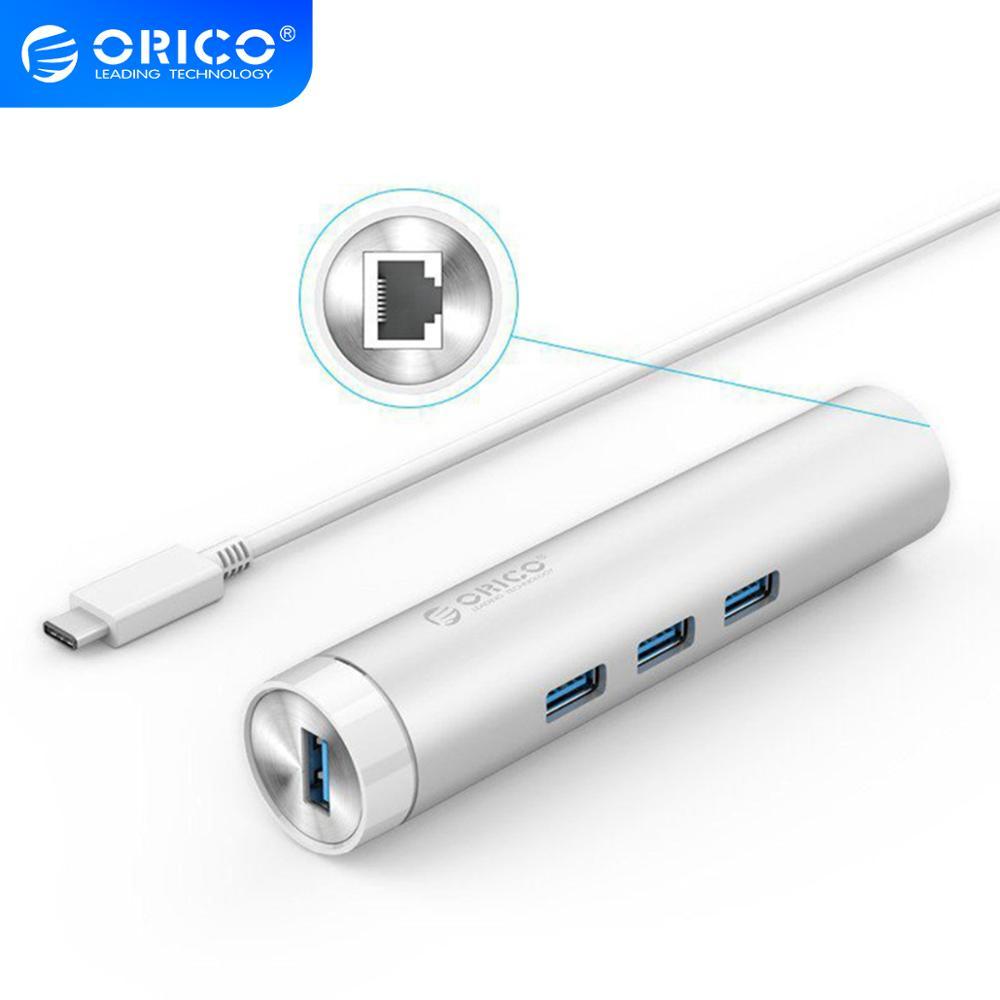 Conector USB C ORICO cilíndrico de aluminio USB3.0 a adaptador de red Ethernet 1000 Mbps RJ45 divisor para Macbook Samsung Huawei P20