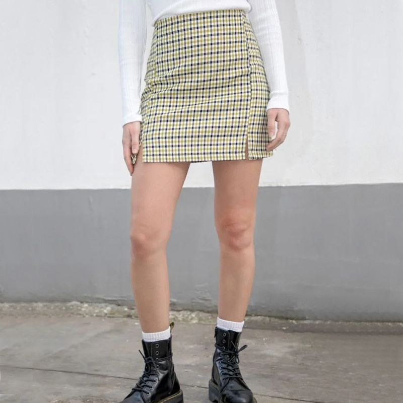 Женская темно-зеленая и желтая мини-юбка с принтом s Две маленькие передние разрезы клетчатая мини-юбка с боковой молнией