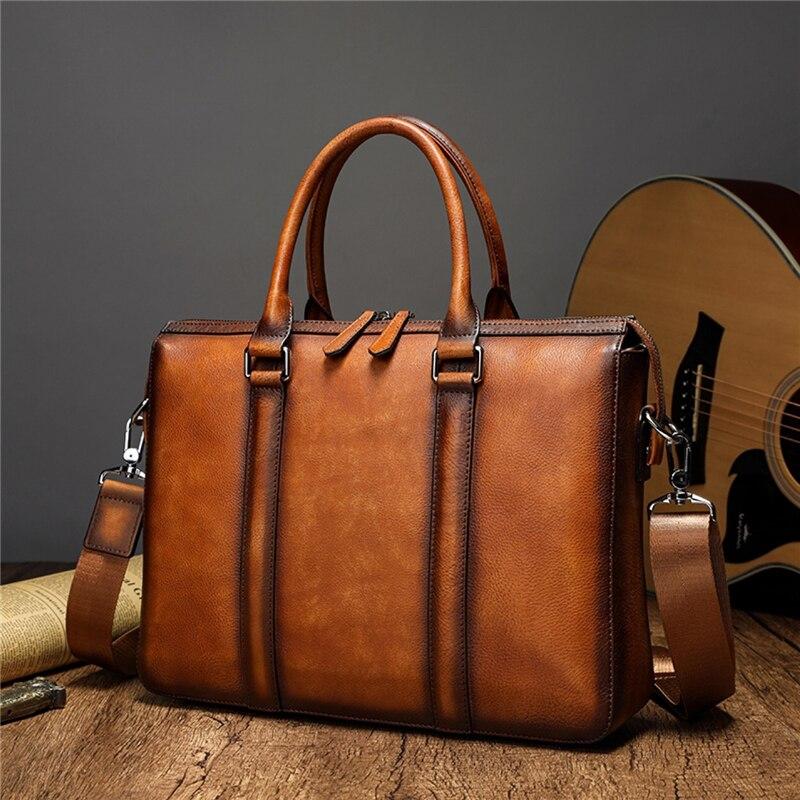 Genuine Leather Men Designer Briefcase Business Bag Casual Male Tote Handbag Shoulder Bag Women Crossbody 15 inch notebook Bag