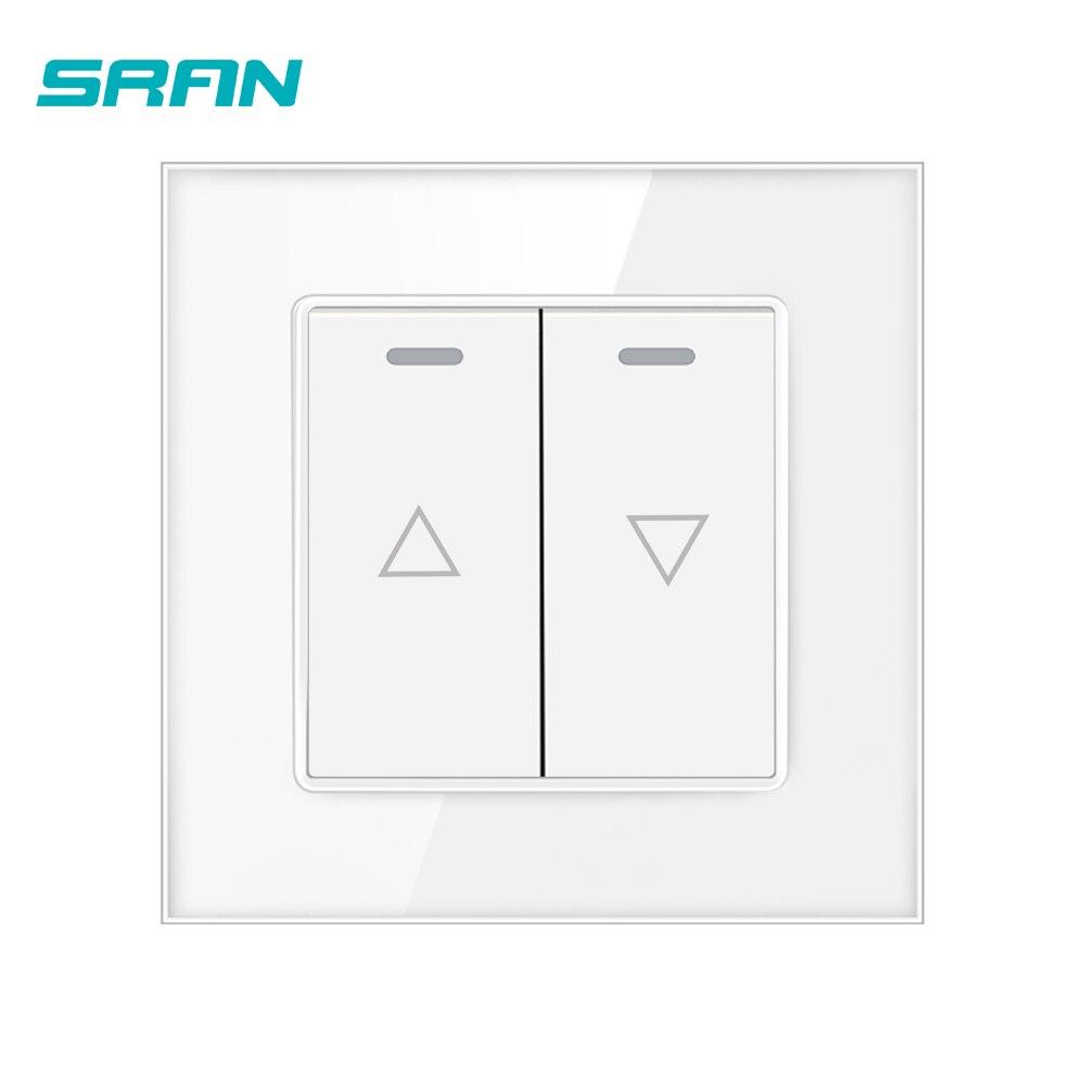 Interruptor do obturador do rolo de sran uk 2gang, painel de vidro temperado cristal 86mm * 86mm momentâneo interruptor de reset branco/preto/ouro A610-24