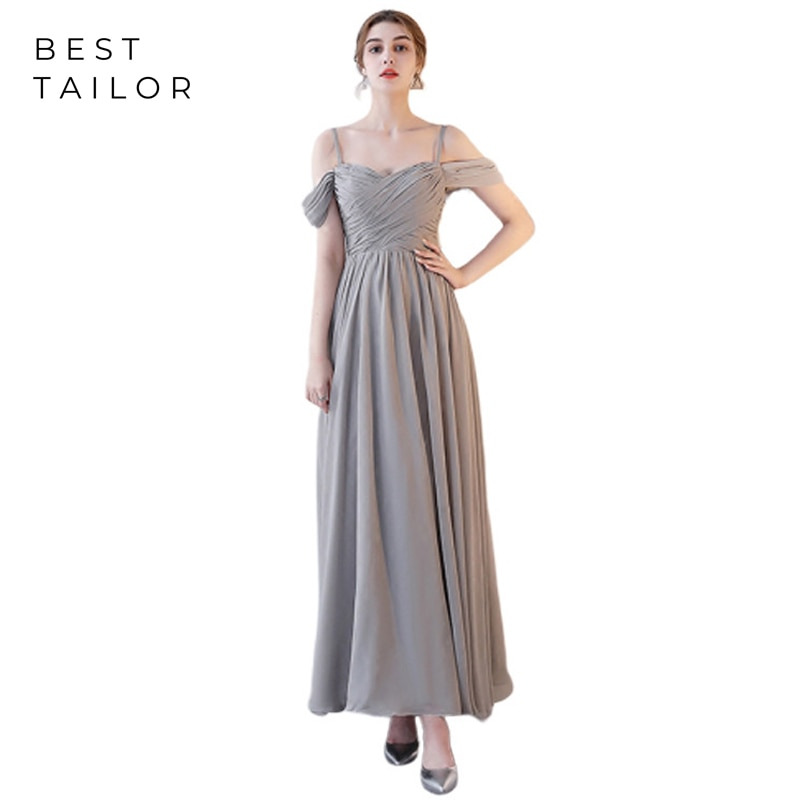 Gray Bridesmaid Dresses for Weddings 2021 Long Chiffon Formal Wedding Guest Gowns vestidos de fiesta de noche Maid of Honor Gown