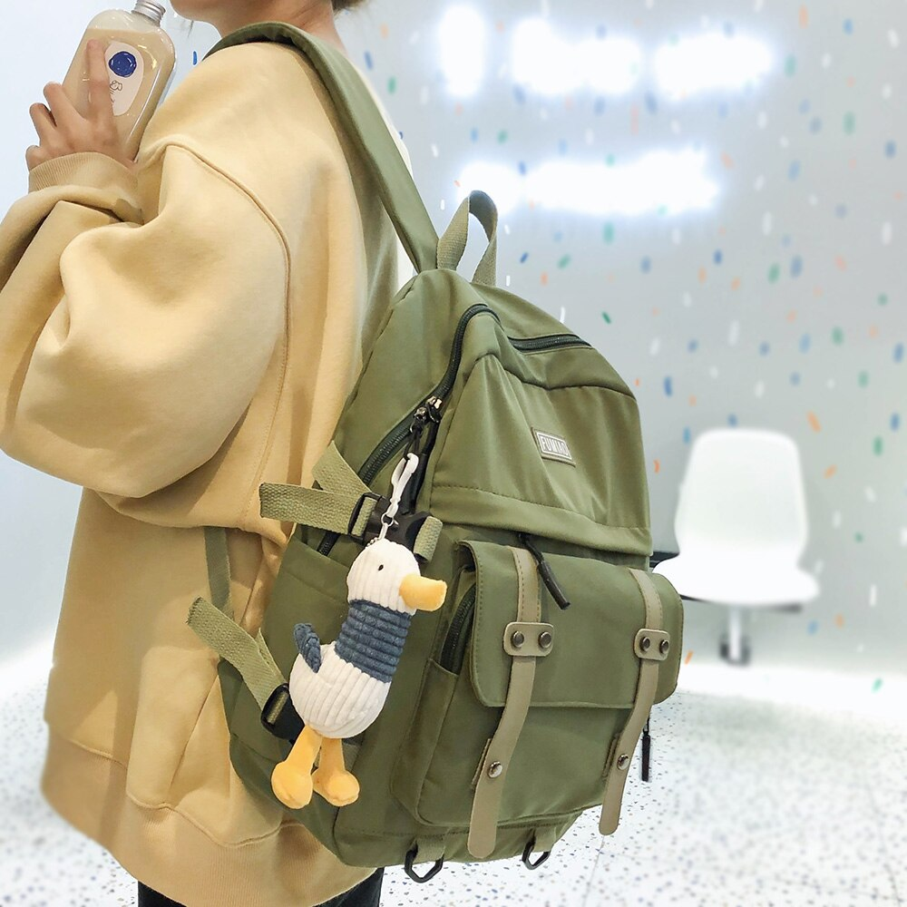 Mochila de Nylon impermeable para mujer, bonita mochila escolar para estudiante, mochila Kawaii para chica, mochila para portátil para mujer, bolsa de moda para libros, hebilla de lujo para mujer