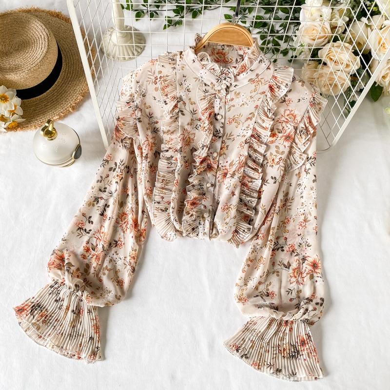 Süße Blumen Druck Chiffon Shirt frauen 2020 Mode Neue Art Und Weise Faltete Holz Ohr Schlank Langarm Tops Bluse L073