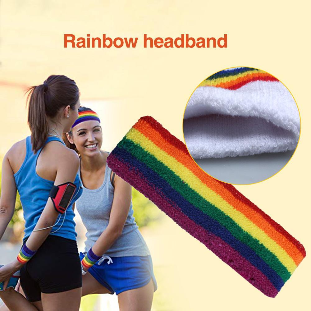 Rainbow Absorbent Cycling Yoga Sport Sweat Headband Men Sweatband For Men and Women Yoga Hair Bands Head Sweat Bands
