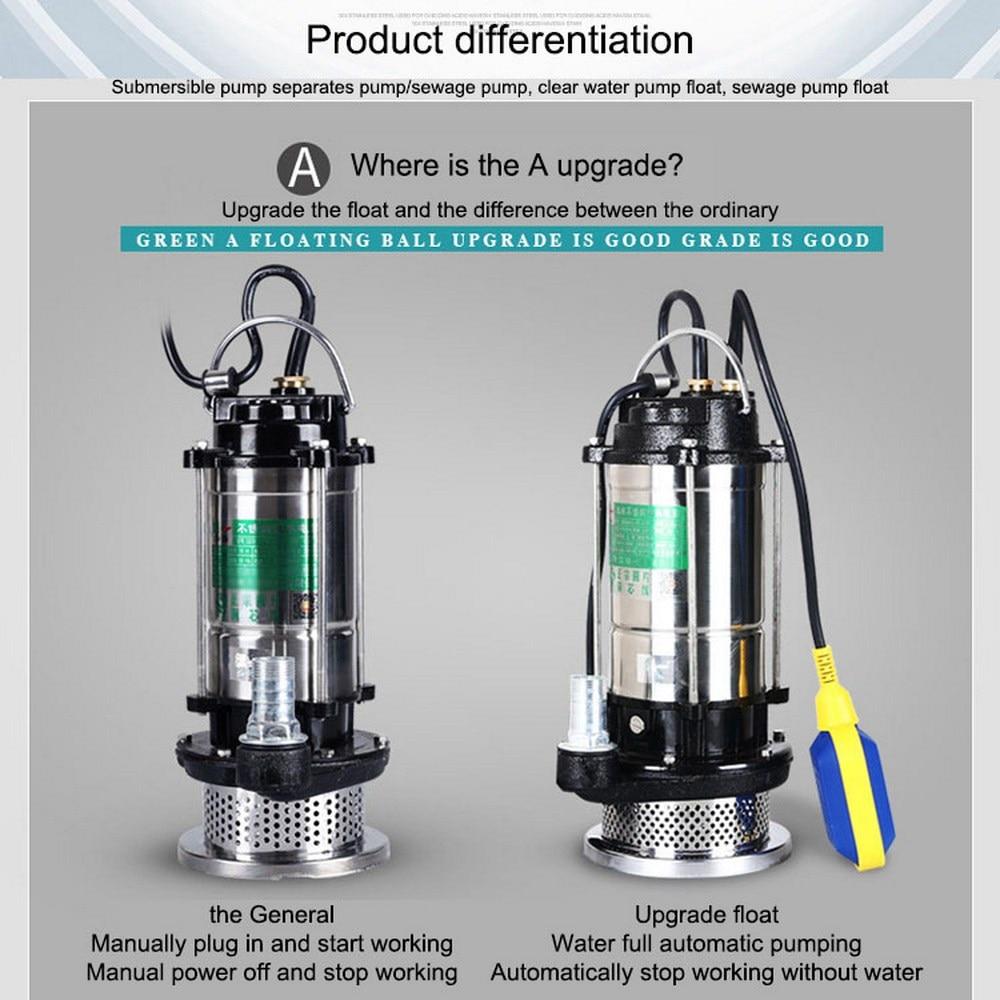 مضخة مياه احتياطية من الفولاذ المقاوم للصدأ ، 220 فولت ، غاطسة ، مع محول الاتحاد الأوروبي
