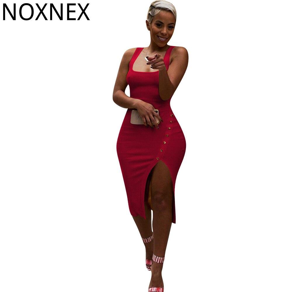 NOXNEX-vestido Midi de punto sin mangas para mujer, prenda Sexy Vintage hasta la rodilla, para fiesta, S-XXXL