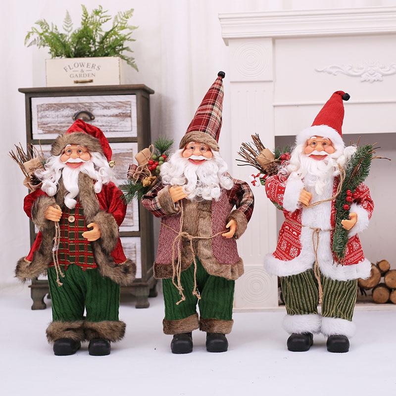 Decoraciones navideñas para Santa Claus muñeca de alta calidad de simulación de las personas de edad avanzada adornos juguetes incluso los niños regalo accesorios para ventana 70 Cm