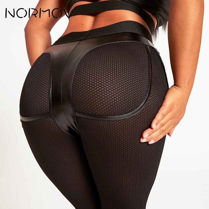 NORMOV Fitness Gym Leggings PU Leater Yoga Shorts For Woman Black Dot Push Up High Waist Biker Shorts 2019 Gym Leggings