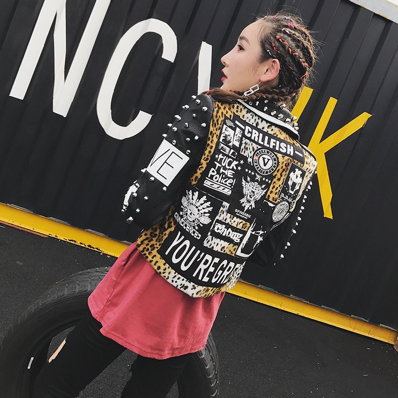 Thai tide graffiti print rivet leopard stitching short motorcycle leather coat women's long sleeve punk rock coat enlarge