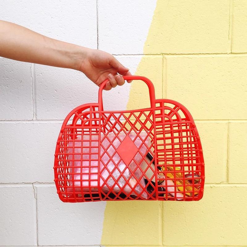 Bolsa de verano fresca INS Super bolsa caliente bolsa de cesta de mano ahuecada bolsa de jalea de gran capacidad de vacaciones bolso de chica