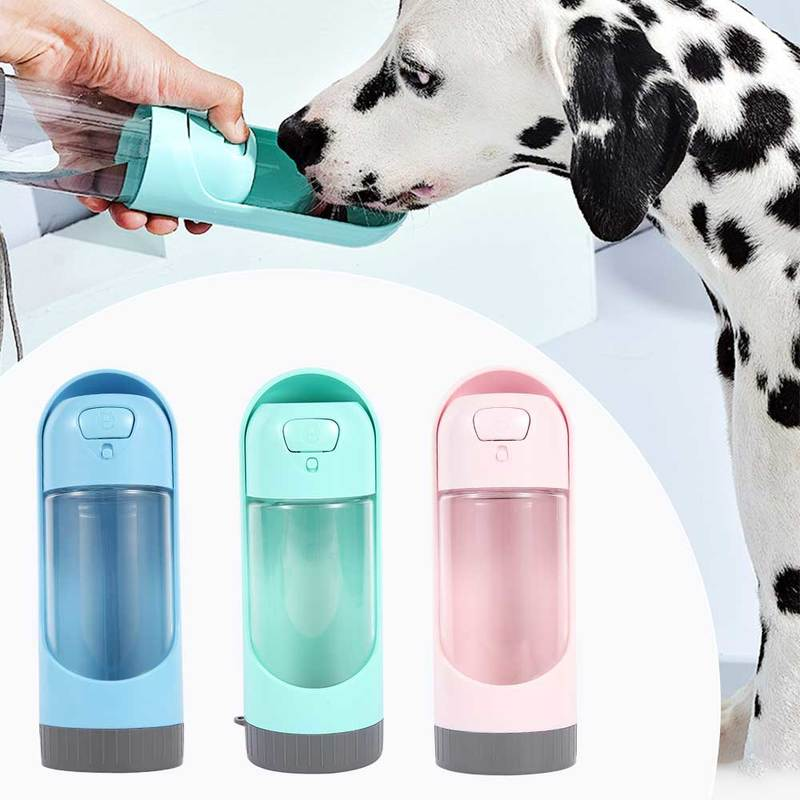 Преносима бутилка за вода за домашни кучета 300 мл купа за пиене за малки и големи кучета, дозатор за храна за котки и кучета, външни бутилки