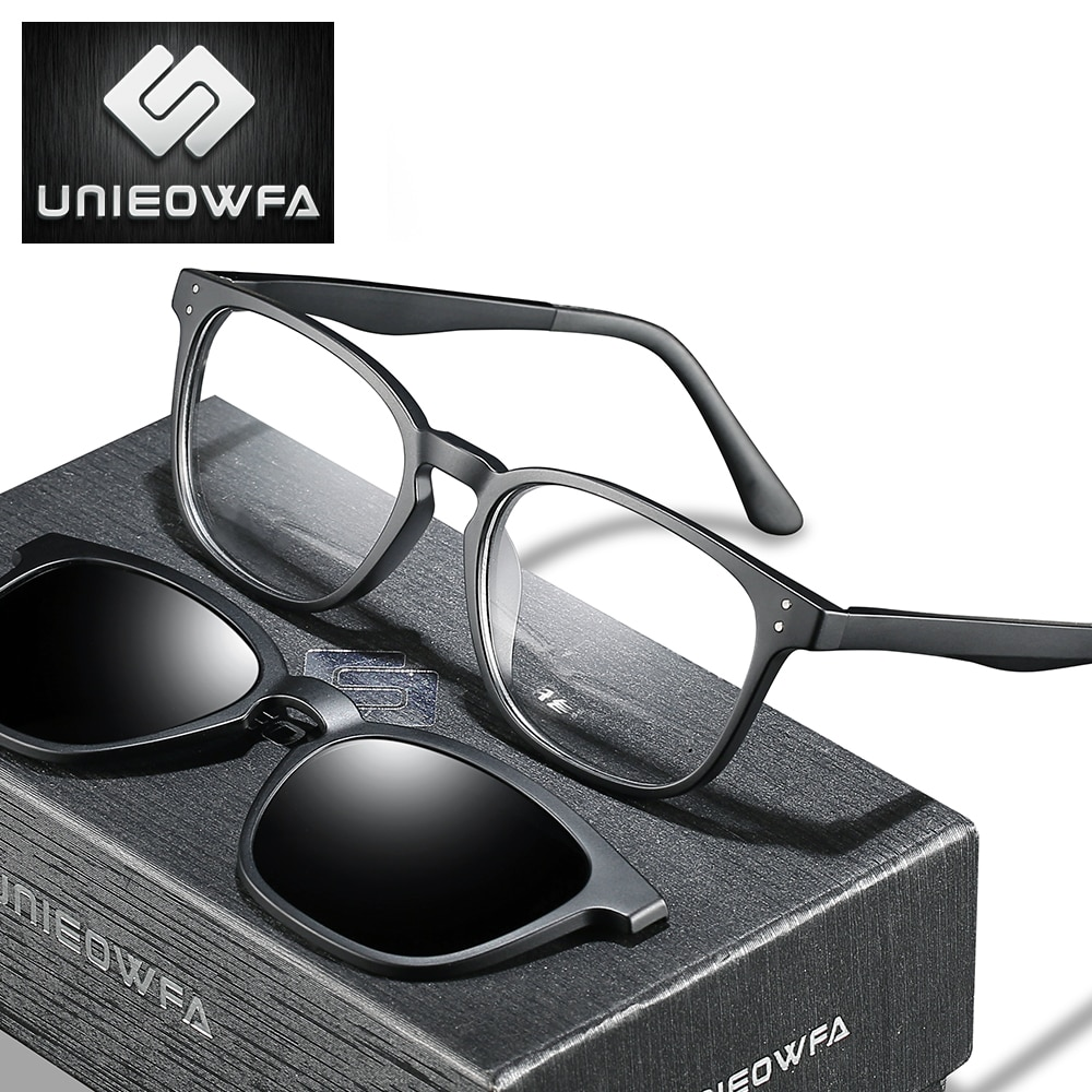 نظارات كلاسيكية للرجال ، نظارات بصرية مربعة الشكل مع مشبك مغناطيسي ، لقصر النظر ، وصفة طبية