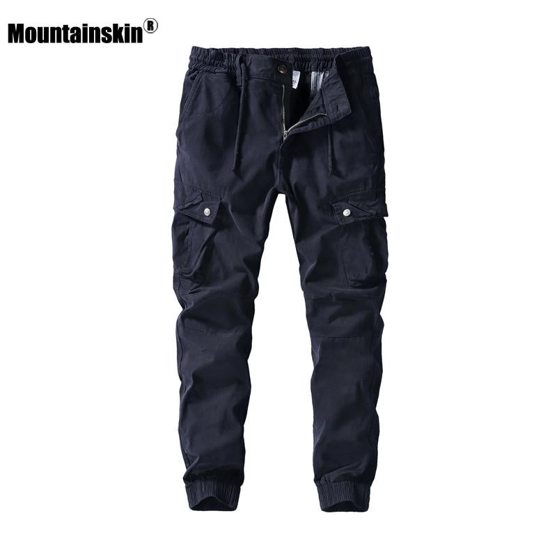 Mountainskin nuevos pantalones para hombre 2020 primavera Casual algodón moda bolsillos Cargo pantalones sueltos deportivos Jogging Pantalones Hombre SA908