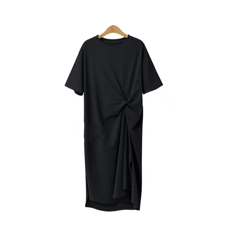 Vestido de longitud media de algodón suelto casual dividido Camiseta de manga corta falda de gran tamaño sobre la rodilla Falda larga perezosa