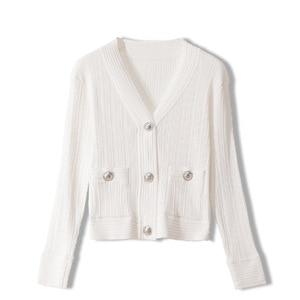 Luxury 2020 Autumn Women Knitted Cardigan Sweater Lady V-neck White Slim Elastic Long-Sleeved knitwear Female Pockets Thin Tops