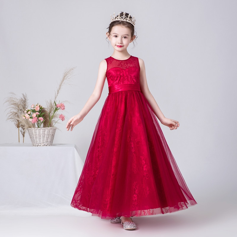elegant flower girl dress for wedding kids sleeveless lace tulle pageant ball gowns long princess dresses girls party dresses Kids Long Formal Princess Dress Pageant Gowns Burgundy Elegant Lace Flower Girl Dresses For Wedding Birthday Party Bowtie