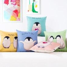 Oreiller décoratif pour la maison   Housse de coussin motif animaux pingouin, couverture de coussin modèle dessin animé, oreiller pour canapé chaise, taille
