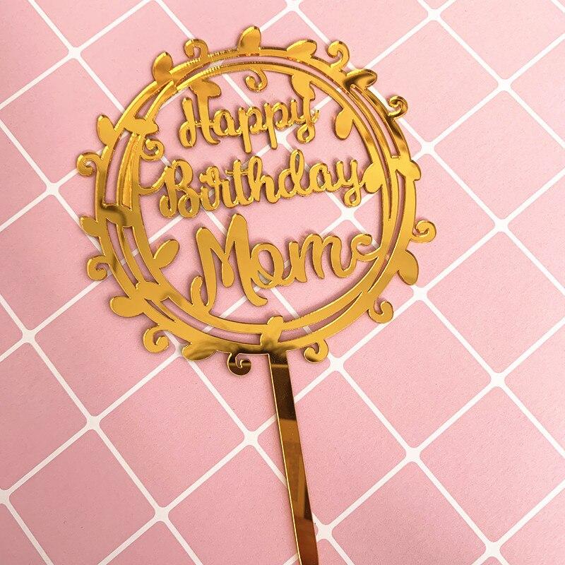 1 pçs acrílico ouro feliz aniversário mama bolo superior bandeiras bolo topper para mãe celebração de aniversário decoração festa suprimentos