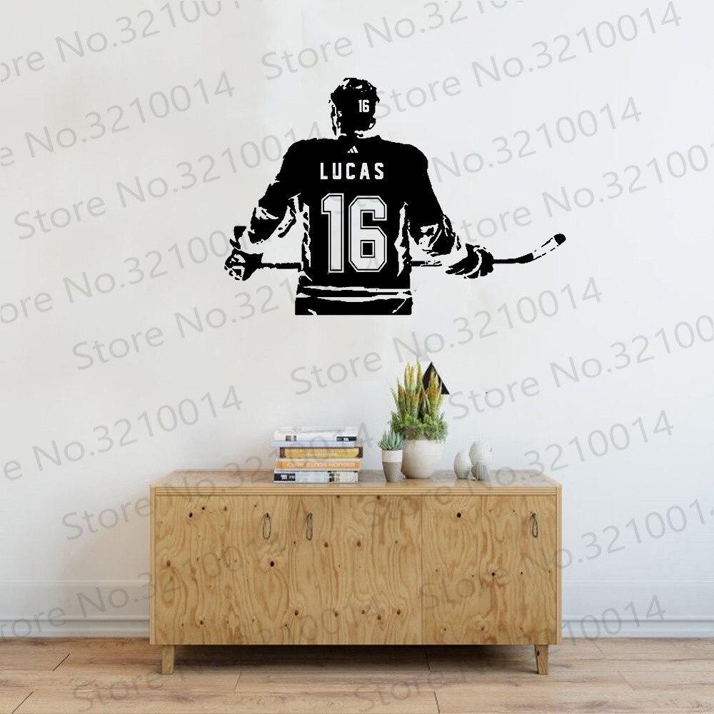 Hockey vinilo adhesivo personalizado nombre Hockey etiqueta para decoración de paredes números A1-047 papel moderno hielo elegir nombre y Jersey PW572