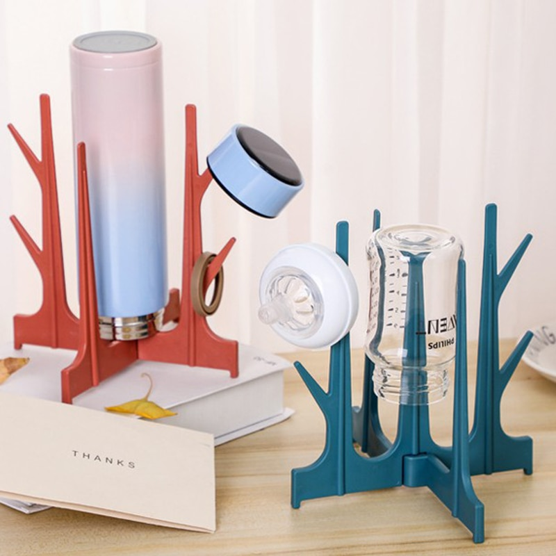 Bottle Drying Rack Baby Feeding Bottles Drain Pacifier Cleaning Dryer Drainer Storage Creative Tree Branch Holder Foldable Cup