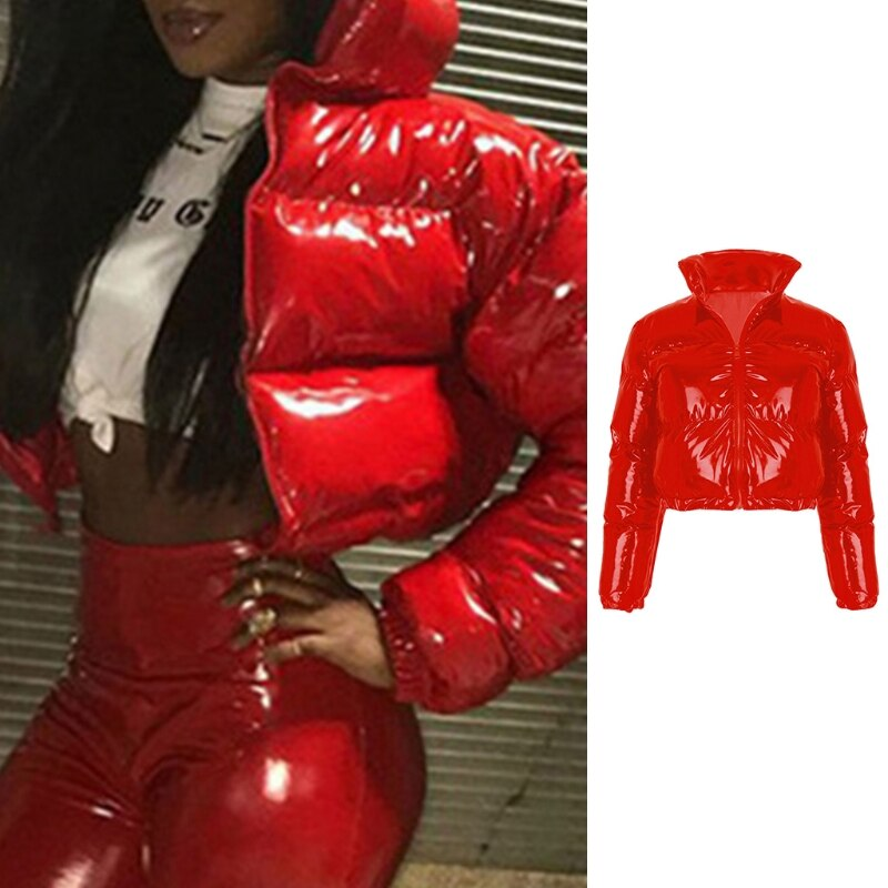 Women Winter Long Sleeve Zipper Puffer Jacket Stand Collar Shiny Metallic Faux Leather Cropped Puffy Bubble Coat Quilted Parkas
