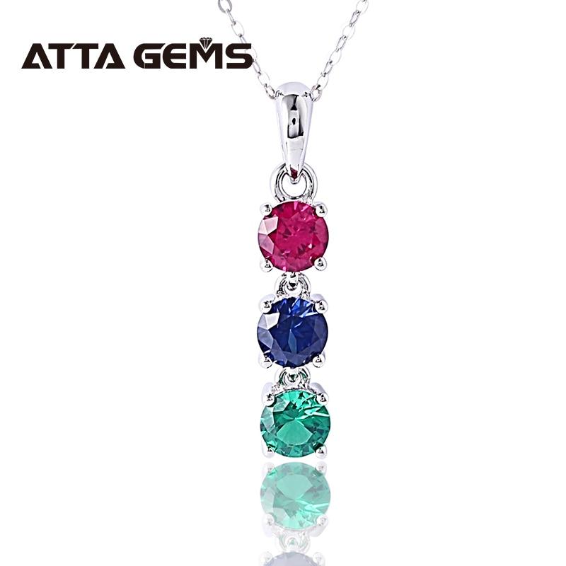 Rubi safira esmeralda colorido prata esterlina pingentes para o casamento feminino noivado criado pedras preciosas design s925 pingente