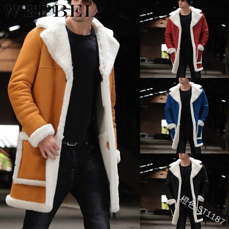 WEPBEL-معطف رجالي من الكشمير ، معطف طويل من الصوف ، دافئ ، سميك ، معطف واق من المطر