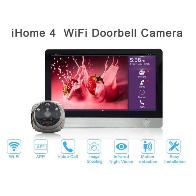 Rollup ihome4 Smart Home WIFI Video Peephole Door Viewer Wireless Call Intercom Doorbell IR PIR Night VisionSurveillance Camera enlarge