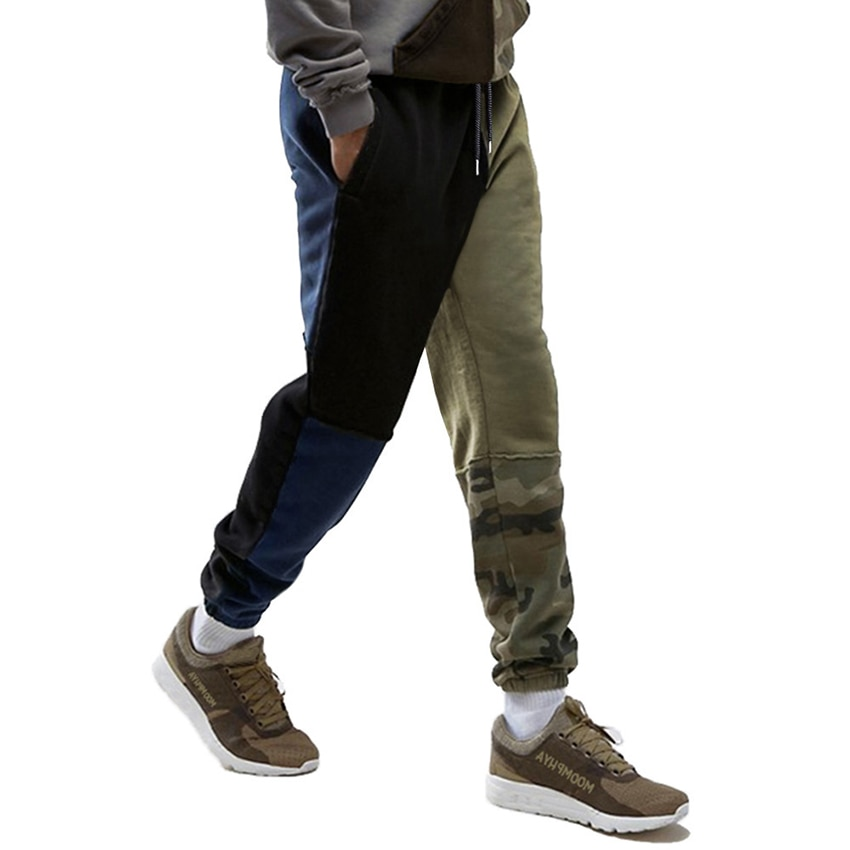 Men's New Spring Jogger Pants Men Cotton Camouflage Patchwork Sweatpants Fitted Sweat Pants Casual T