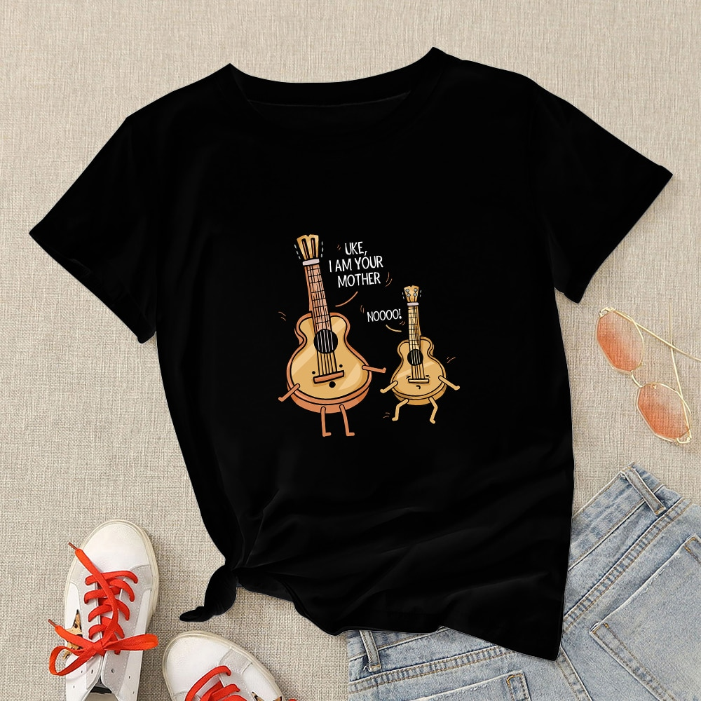Funny Cello Cartoon Printed Mama Tshirt Personalized Summer Mother's Day Tops Black O-neck Tees Fashion Women Casual T-shirts