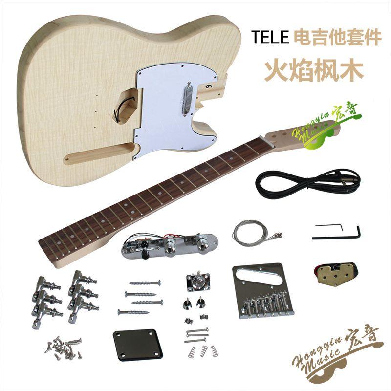 TL estilo agua ondulaciones madera guitarra eléctrica DIY Kit de tilo cuerpo palisandro diapasón Durable Arce cuello guitarra