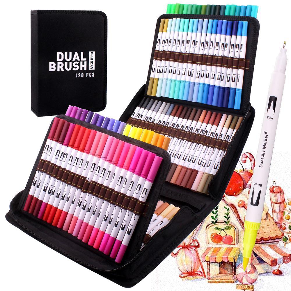 AliExpress - Dual Brush Art Markers Pen Pen Fine Tip 120 Color Watercolor Brush Markers Dual Tip Drawing for Manga Art Supplies School manga