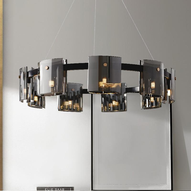 الحديثة LED أضواء الثريا غرفة الطعام غرفة المعيشة ثريا فاخرة العنبر/الدخان الزجاج غرفة نوم دراسة الديكور