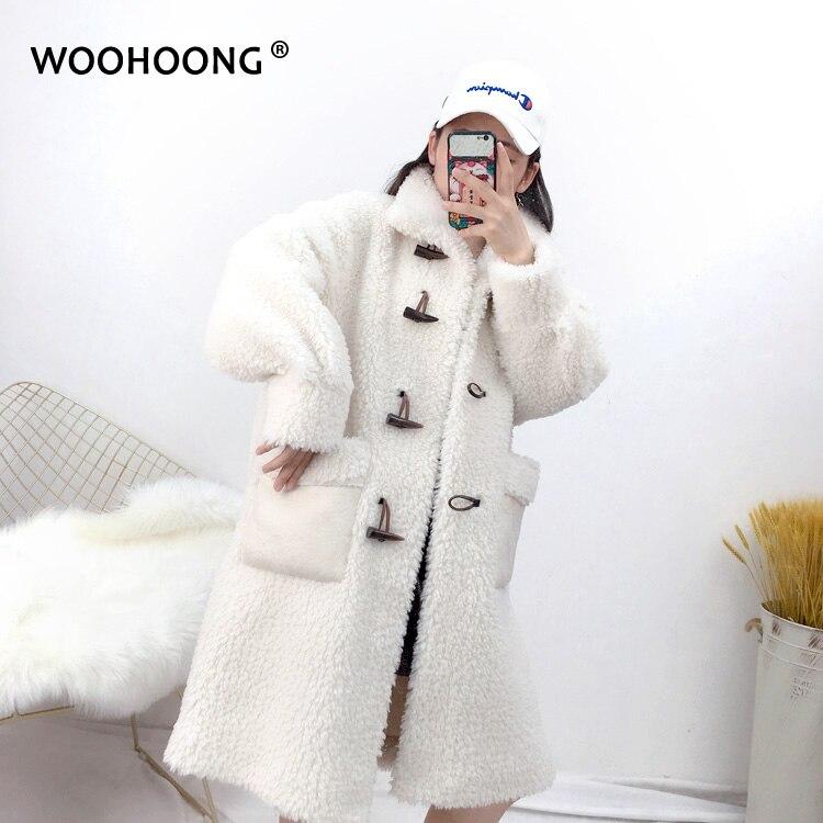 Winter Granule Sheep Shearing Coat Women Sheep Wool Jacket Female Overcoat Outerwear Oversize Horn Button Oversize