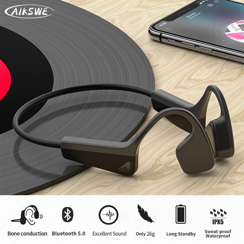 AIKSWE Bone Conduction Headphones Bluetooth wireless Sports Earphone IP56 Headset Stereo Hands-free