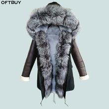 OFTBUY 2020 롱 파커 코트 겨울 자켓 여성 천연 리얼 모피 칼라 후드 PU 가죽 슬리브 따뜻한 아우터 Streetwear Luxury