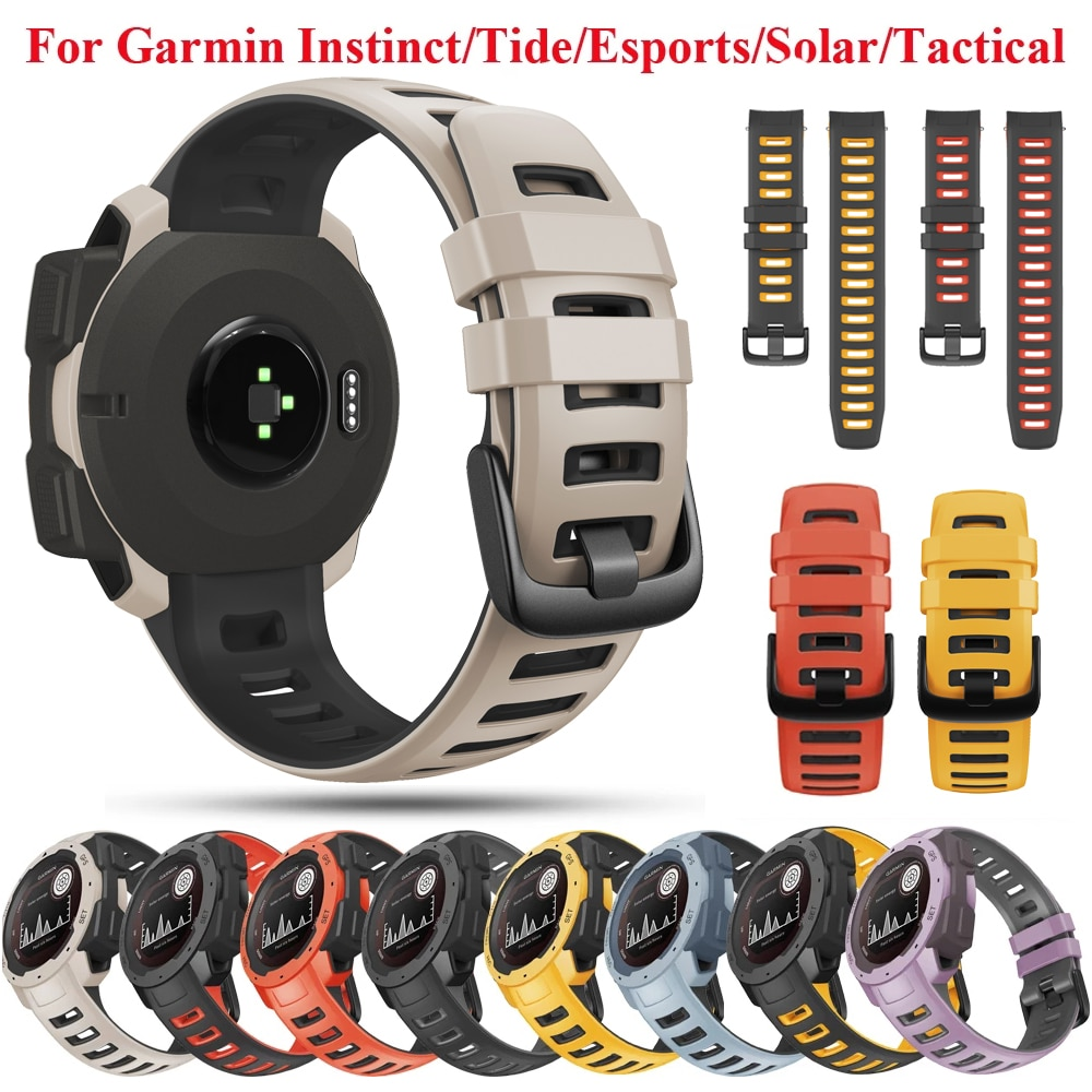 Silicone Watch Band Strap For Garmin Instinct Smartwatch 22mm Replacement Wristband Instinct Tactical/Solar/Esports/Tide Correa