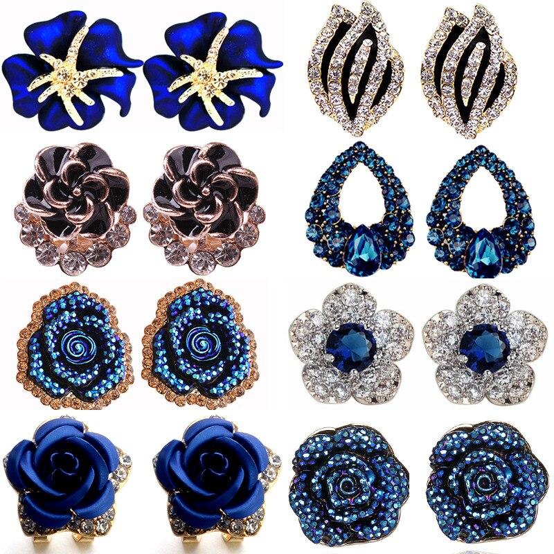 ¡Novedad de 2019! Pendientes con personalidad a la moda de la versión coreana, pendientes de color rosa azul con cristales, pendientes para mujer