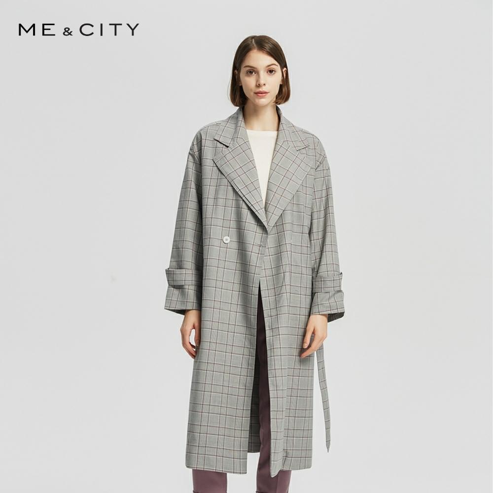 Me & cidade Mulheres Windbreaker casacos vestuário Urbano jaqueta xadrez Casaco de Senhora Do Escritório de moda Elegante Fino Do Vintage