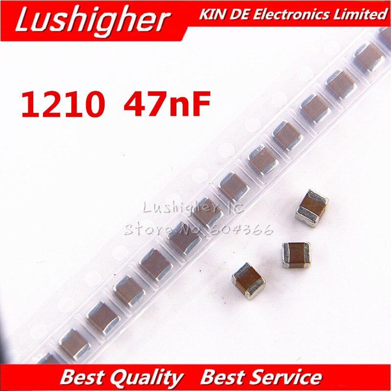 50 Uds 1210, 473k 47Nf 250V X7R 10% SMD chip de película gruesa condensador cerámica multicapa