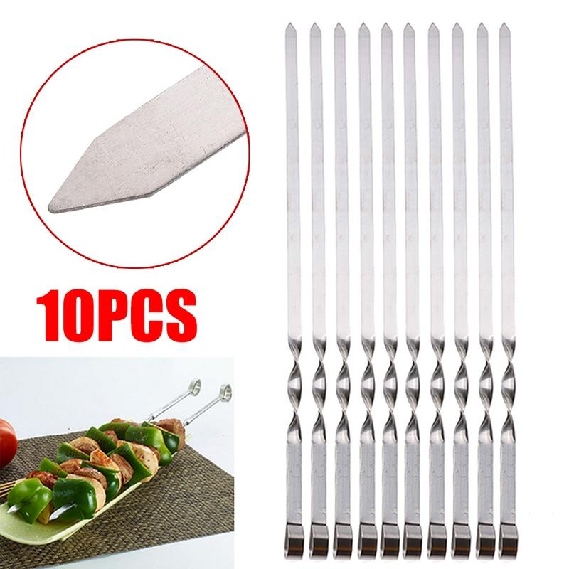 10 Uds. Pinchos de cocina de acero inoxidable de 50cm de largo para barbacoa y Kebab, utensilios para parrilla al aire libre, brochetas