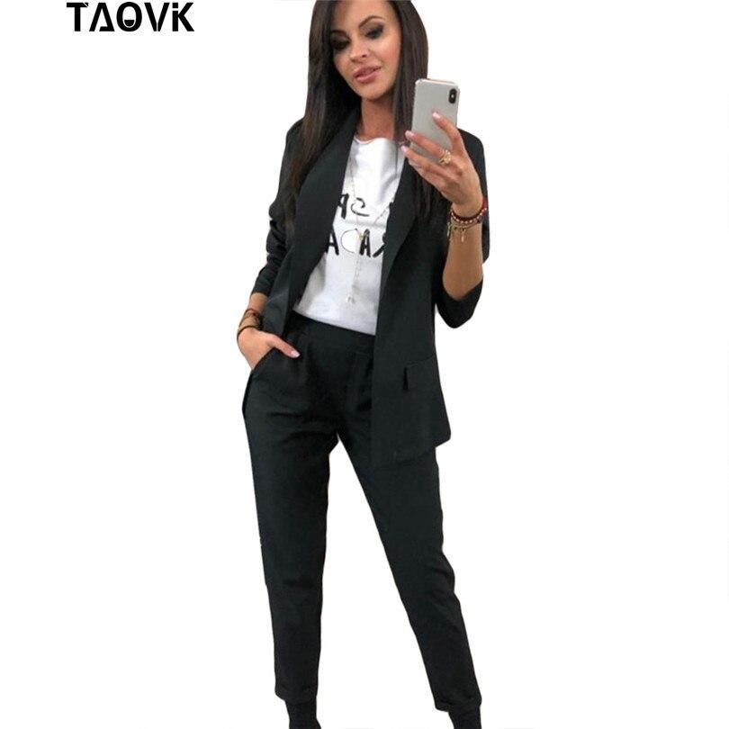 TAOVK trajes de trabajo CPN pantalón OL 2 piezas conjuntos Collar chaqueta y traje de pantalón para las mujeres femenino de primavera y otoño ropa