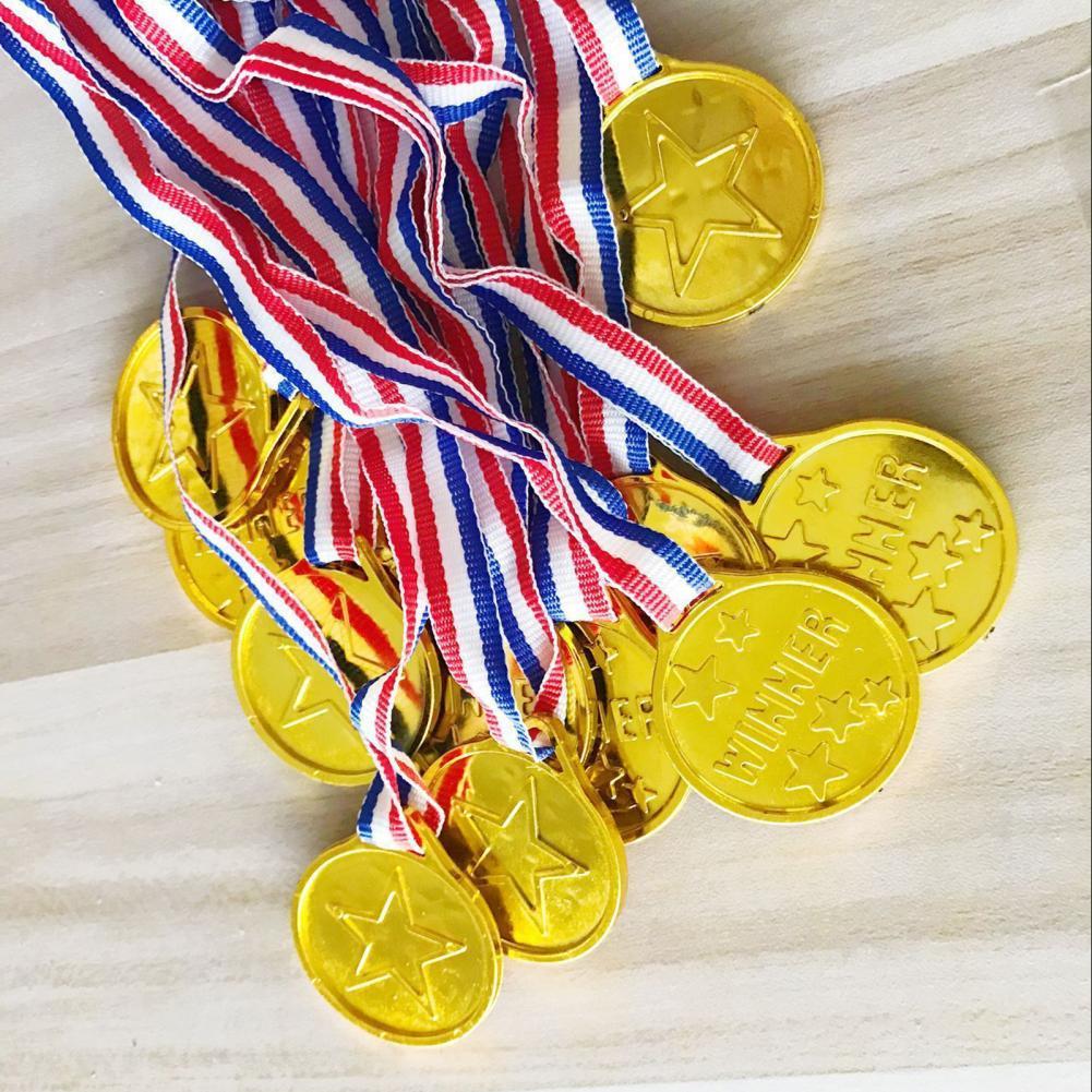 Универсальные медали 10 шт., многофункциональные креативные забавные длинные веревки маленького размера со звездами, пластиковые медали-по...