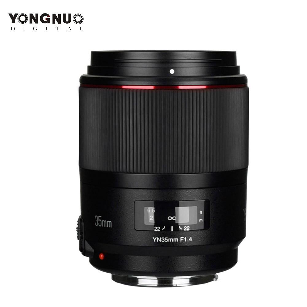 Lente YONGNUO YN35mm F1.4, lente de gran angular de apertura brillante estándar para Canon 5DII D5III 5DIV 5DS 5DSR 6D 7D 6DII 7DII