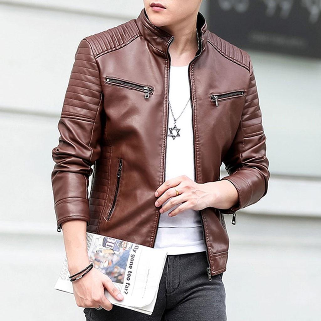 Jacket Coat Men Winter Leather Jacket Stand Collar Biker Motorcycle Zipper Long Sleeve Slim-fit High Quality Coat Top Blouses