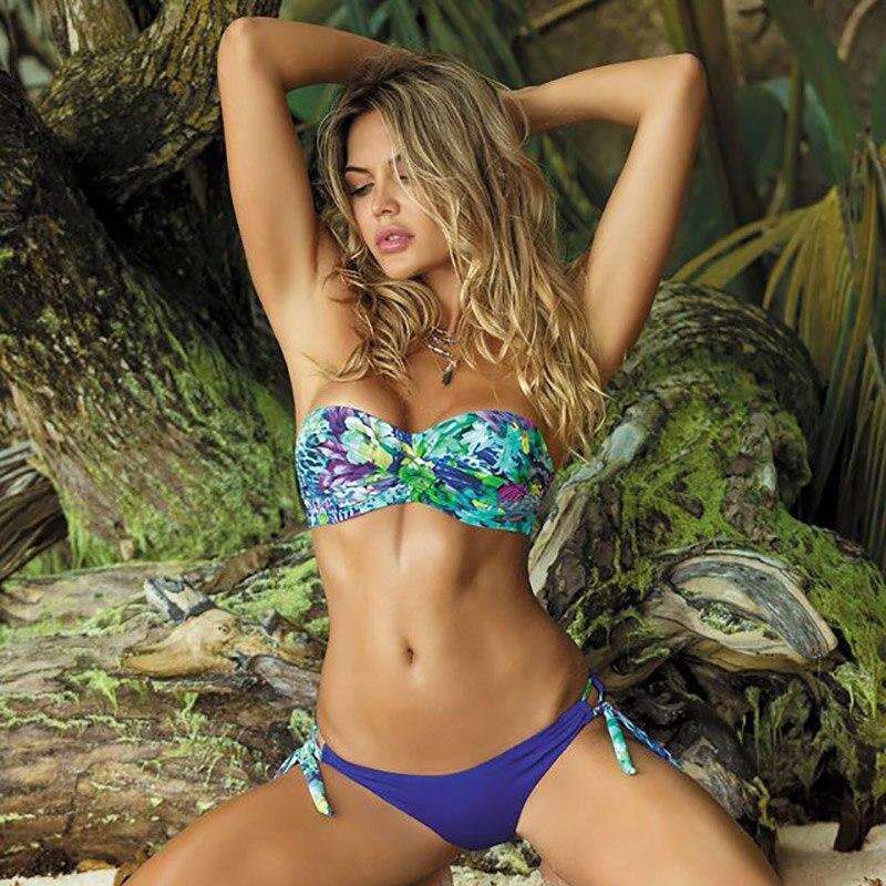 2020 New Leaves Print Bikini Swimsuit Women Push Up Set Bandeau Swimwear Bathing Suit Brazilian Biquini Female Sexy