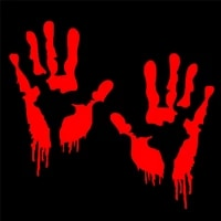 5 91in5 91in red bloody blood hand print vinyl car decal zombie creepy dead sticker creepy personality