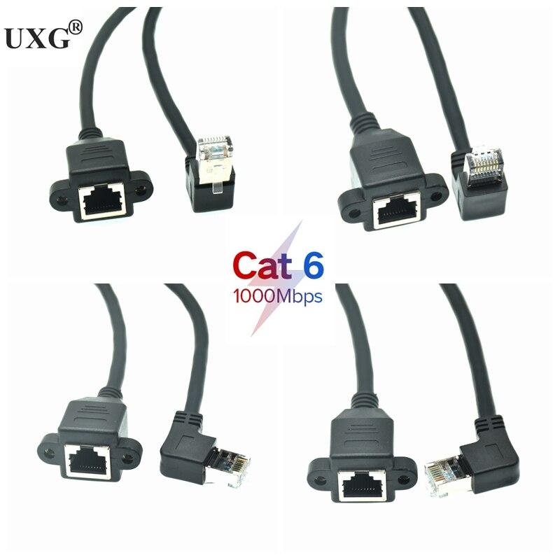 RJ45 Cat6 8P8C FTP STP UTP Cat 6e macho a hembra, 90 grados, en ángulo recto, Cable de montaje en Panel LAN de red Ethernet, 0,3 m, 0,6 m, 1m